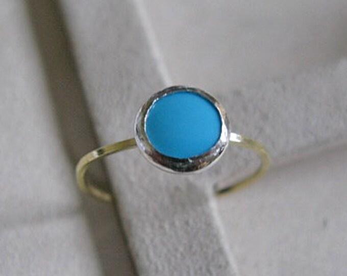 Turquoise Stacking Ring 18K Gold Size 8