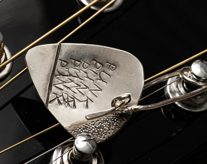 Sterling Silver Guitar Pick Handmade Punk Design with Safety Pin