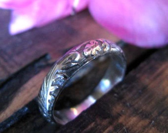 Sterling Silver Vintage Wedding Band 4mm