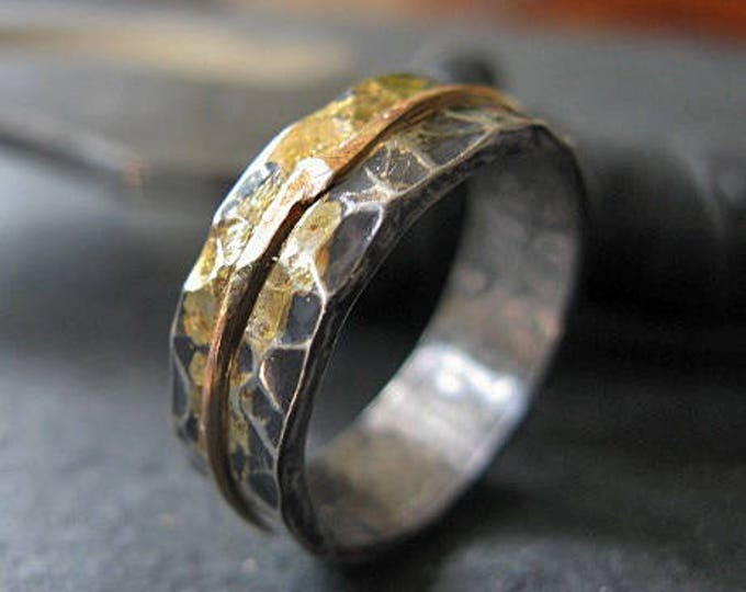 Mens Wedding Band 6.5mm Rose Gold and Silver