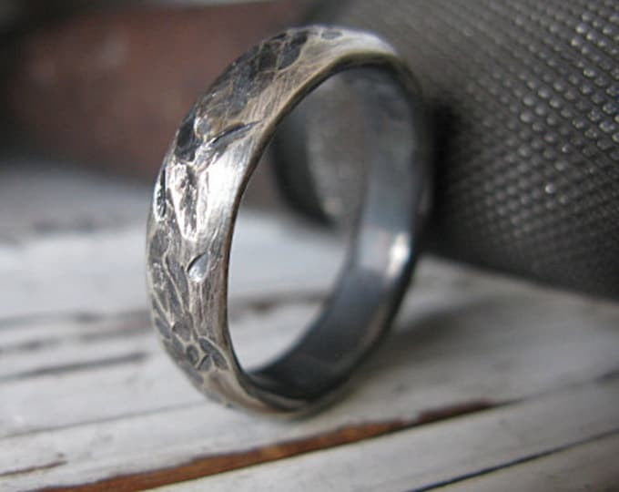 Distressed Wedding Ring 5mm Oxidized Sterling Silver