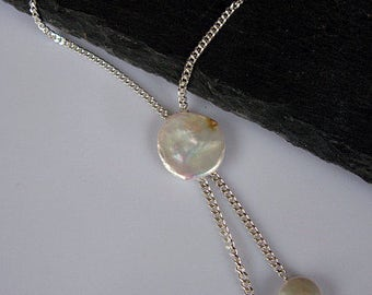 Pearl Lariat Pearl Necklace Pearl Pendant Modern Pearl Y Necklace Coin Pearl Silver Y Necklace Modern Pearls White Pearls Drop Pearls Bridal
