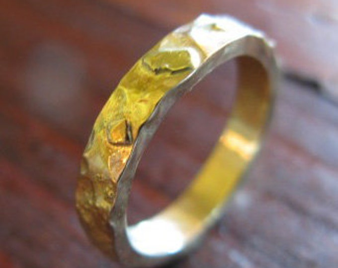 14K Gold on Gold Band 3mm Mens Wedding Band Ladies Wedding Ring Rustic Unique Textured