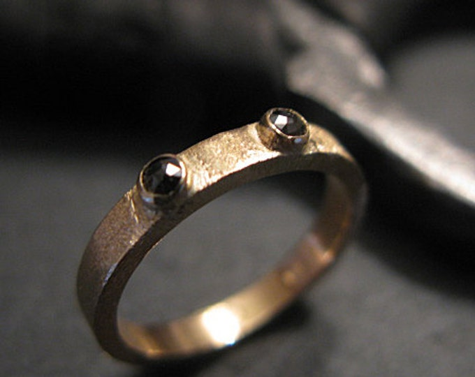 Size 6 Black Diamond Ring 3mm Gold Band