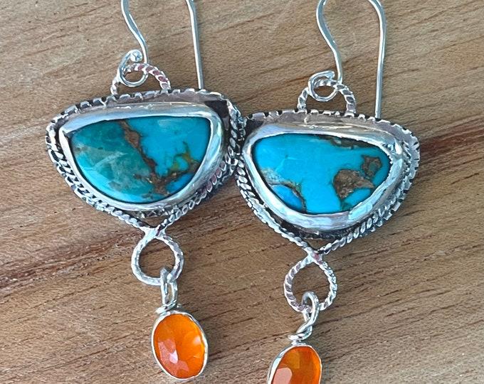 Turquoise Orange Fire Opal Dangle Earrings