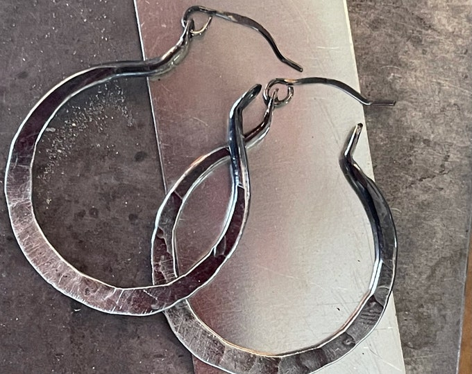 Hammered One Inch Sterling Silver Hoops