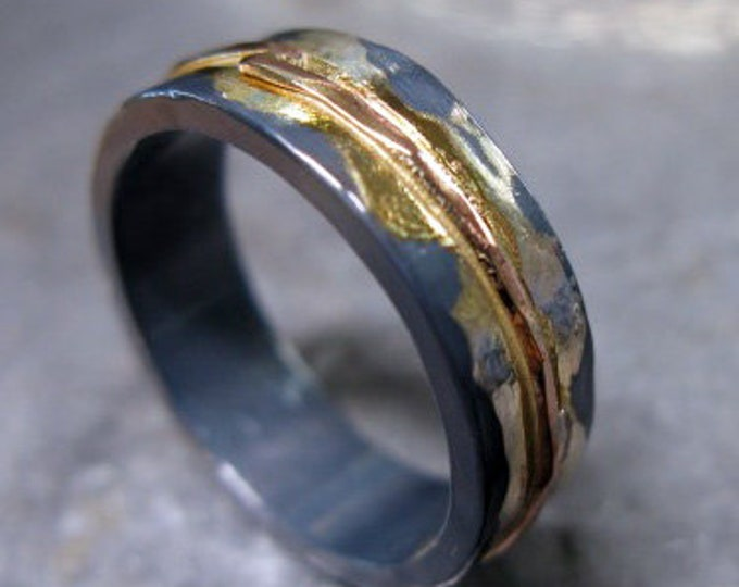 Mens Wedding Band 7mm Oxidized Silver and Rose Gold