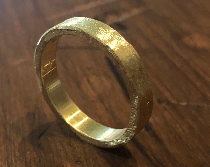 18K Green Gold Custom Wedding Band 4mm Brushed Finish Mens Ring