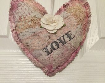 Fabric hanging heart vintage retro look