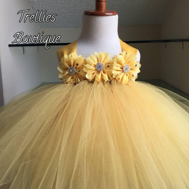 65d1e75f1ae Yellow Tutu Dress Gold Polka Dot Flowers Lace Tutu Dress