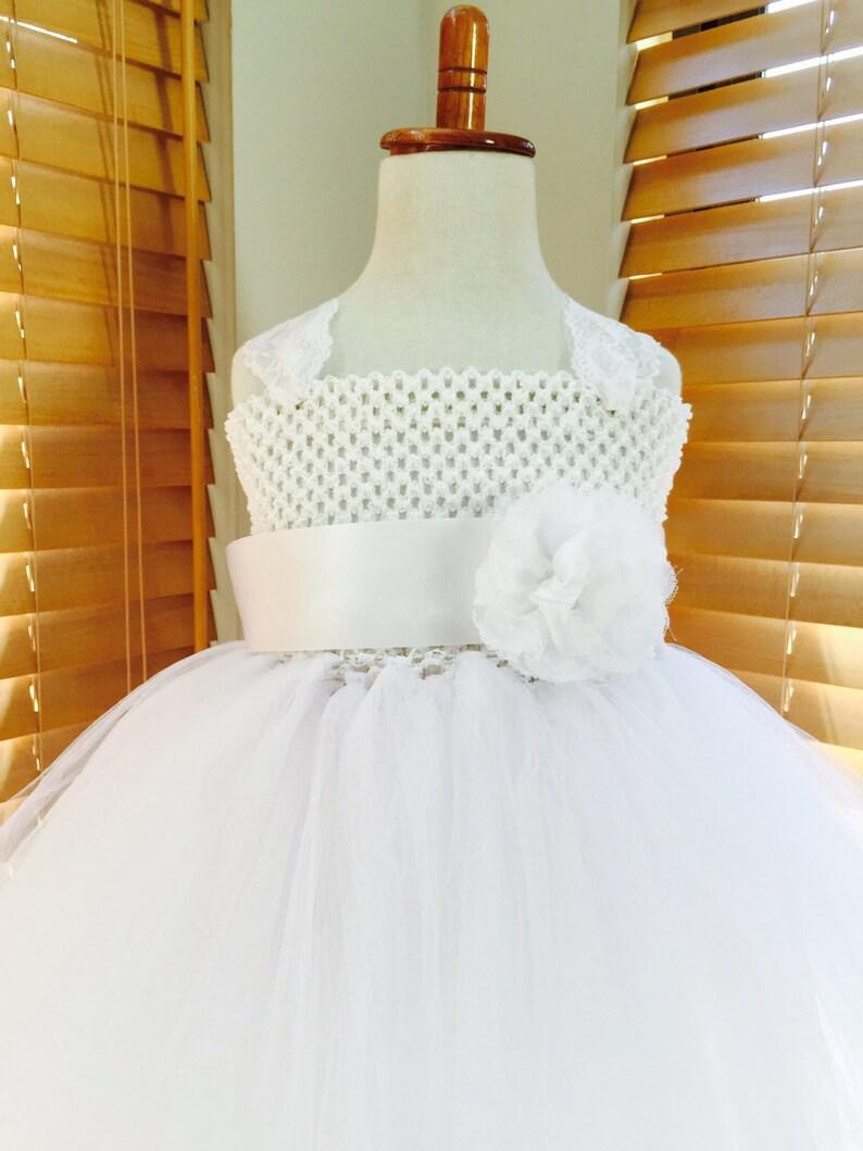 2f939603de3ec Blanc dentelle robe Tutu robe fille fleur robe de mariée