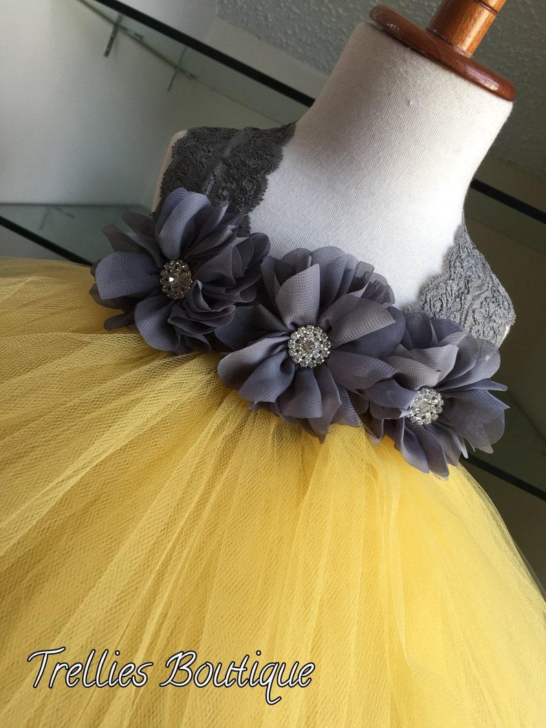 e1efef8a9fb Gray Yellow Tutu Dress Pewter Tutu Dress Lace Tutu Dress