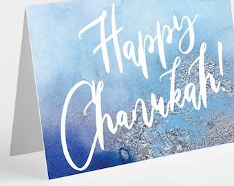 24 Blue & Silver Happy Hanukkah Cards - Jewish Greetings Box Set 6363
