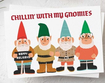 24 Funny Christmas Cards Box Set - Chilling with my Gnomies 6596