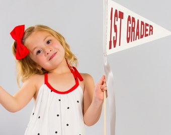 First Day of School Flag Back To School Sign Kindergarten 1st Grade 2nd Grade 3rd (Any Grade) Pennant Flag Photo Prop Elementary School 2087
