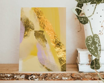 24 Gorgeous Yellow, Gold & Lavender Watercolor Abtract Art Greeting Cards All Occasion Notecards + Envelopes 6647