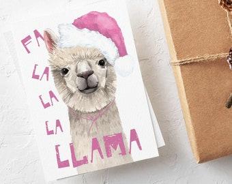 24 Llama Holiday Cards - Fa La La La Llama Funny Pink Girly Christmas Greeting Card Box Set 6602
