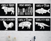 6 Butcher Prints Vintage Meat Diagram Chart Illustrations Cuts of Meat Beef Chicken Pork Fish T-Rex 8x10 Unframed Kitchen Wall Art 8049