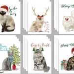 24 Meowy Christmas Cat Christmas Cards Pack for Cat Lovers Merry Catmas Santa Paws Funny Cat Holiday Greeting Cards for Crazy Cat Lady 6046