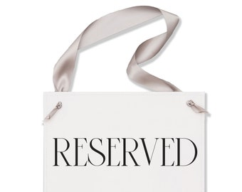 Reserved Sign For Wedding or Event Chair Signage   Paper & Ribbon Banner 3057