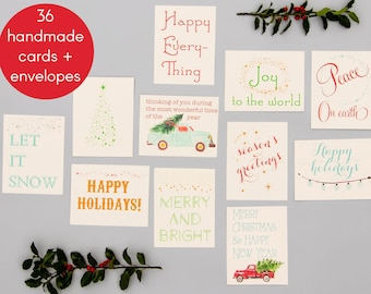 holiday greeting cards handmade christmas cards coworker teacher seasons greetings 12 different designs bulk pack 36 cards envelopes - Cheap Christmas Cards In Bulk
