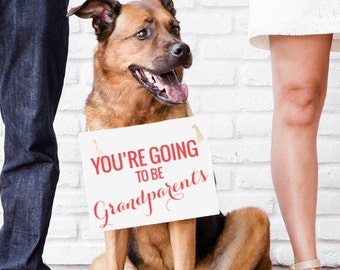 """Pregnancy Announcement Sign """"You're Going To Be Grandparents"""" Baby Reveal Sign To Mom Dad Hanging Banner Papa Nana Handmade in USA 1227 BB"""