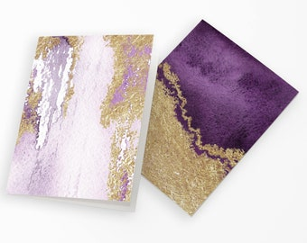 24 Pretty Purple Watercolor & Gold Greeting Cards All Occasion Cards + Envelopes 6644