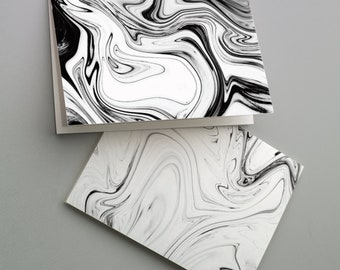 24 Marbling Print Cards Black & White All Occasion Blank Greetings + Envelopes 6332