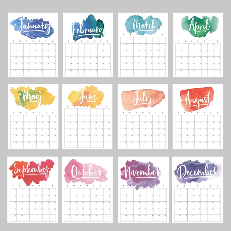 Decorative February 2020 Calendar For Message Boards Rainbow Watercolor Calendar 2019 Calendar 2020 Calendar To Do | Etsy