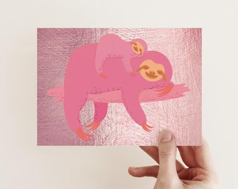 24 Rose Gold Sloth Cards Blank All Occasion Greetings For Her | Box Set Notecards + Envelopes 6640