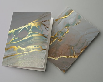24 Marble Gold Greeting Cards Neutral All Occasion Watercolor Blank Greeting Notecards + Envelopes 6656