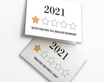 24 Hilarious Cards About 2021 - Worst Year Ever 1 Star Review - New Years Holiday Greetings 6625