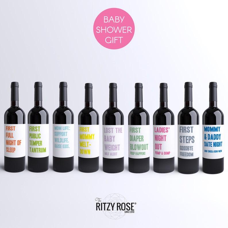 9 Mommy Milestone Wine Bottle Labels Baby Shower Gift
