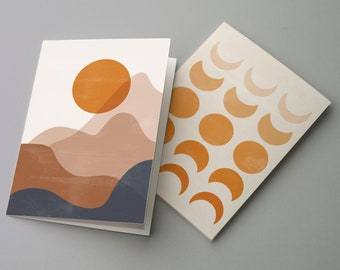 24 Modern Boho Blank Greeting Cards Orange Sun & Moon Astrological Zodiac Neutral All Occasion Notecards 6658
