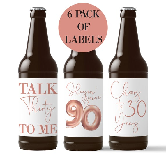 Milestone Bday Accessories /& Favors Printed on Polyester Stock in the USA by RitzyRose 4 Rose Gold Balloon Waterproof Glass Sticker Decals 21st Birthday Wine Bottle Labels