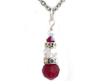 Santa Claus Crystal Pendant Necklace Christmas Jewelry for Women
