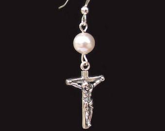 Swarovski Pearl Crucifix Cross Earrings Sterling Silver Confirmation Jewelry