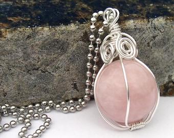 Rose Quartz Sphere Necklace Pendant Wire Wrapped