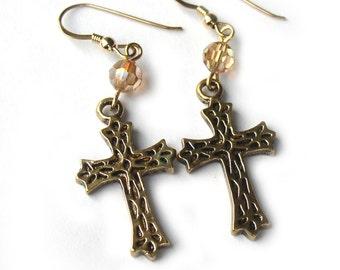 Gold Plated Cross Earrings Swarovski Crystal for Women