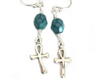 Sterling Silver Ankh Egyptian Earrings for Women