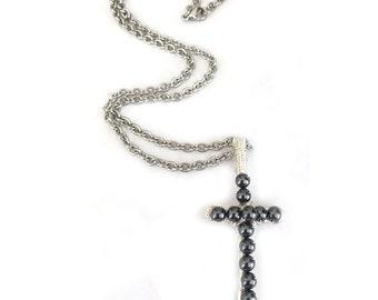 Hematite Pendant Artisan Cross Necklace for Women or Men