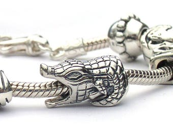 Alligator European Beads Sterling Silver