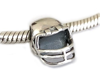 Football Helmet Sterling Silver Large Hole Bead Sports Mom Gift