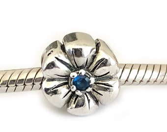 Daisy Flower Sterling Silver Cz Large Hole Bead for Bracelets