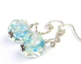 Something Blue Earrings for Bride Sterling Silver Dangle