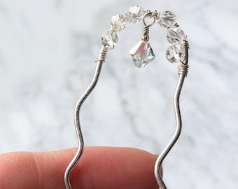 Silver Hair Fork Crystal Wedding Hair Piece Accessory