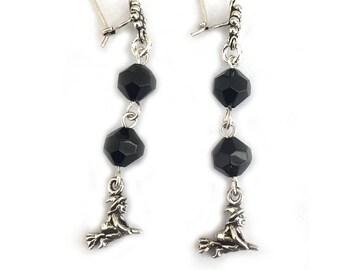 Witch Jewelry Handmade Dangle Earrings - Black - Sterling Silver