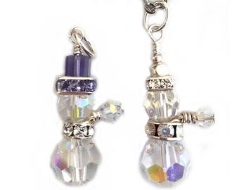 Crystal Snowman Pendant Necklace Winter Jewelry