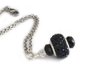 Black Mourning Jewelry Crystal Pendant Necklace for Women