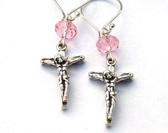 Sterling Silver Crucifix Cross Earrings Dangle for Women Girls